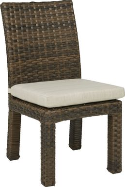 Rialto Brown Outdoor Side Chair with Putty Cushion