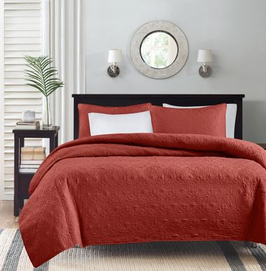 Riaz Red 3 Pc Queen Coverlet Set
