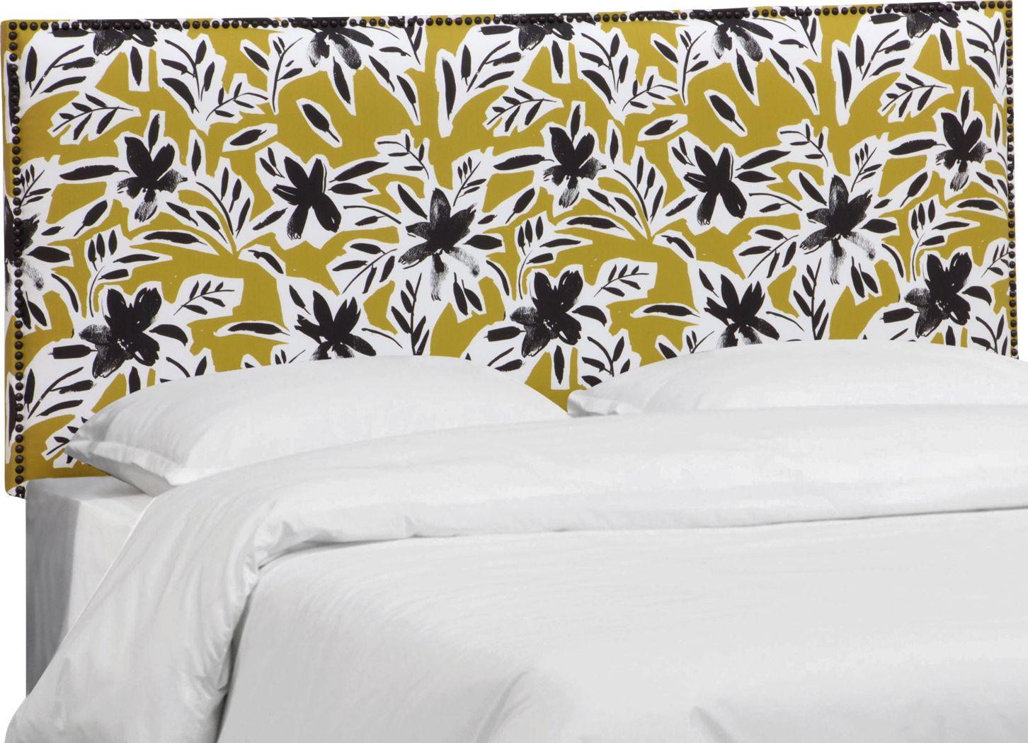Riona Yellow Queen Upholstered Headboard