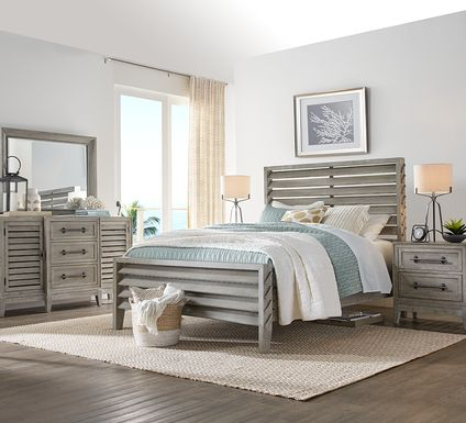 River Falls Light Gray 5 Pc King Slat Bedroom