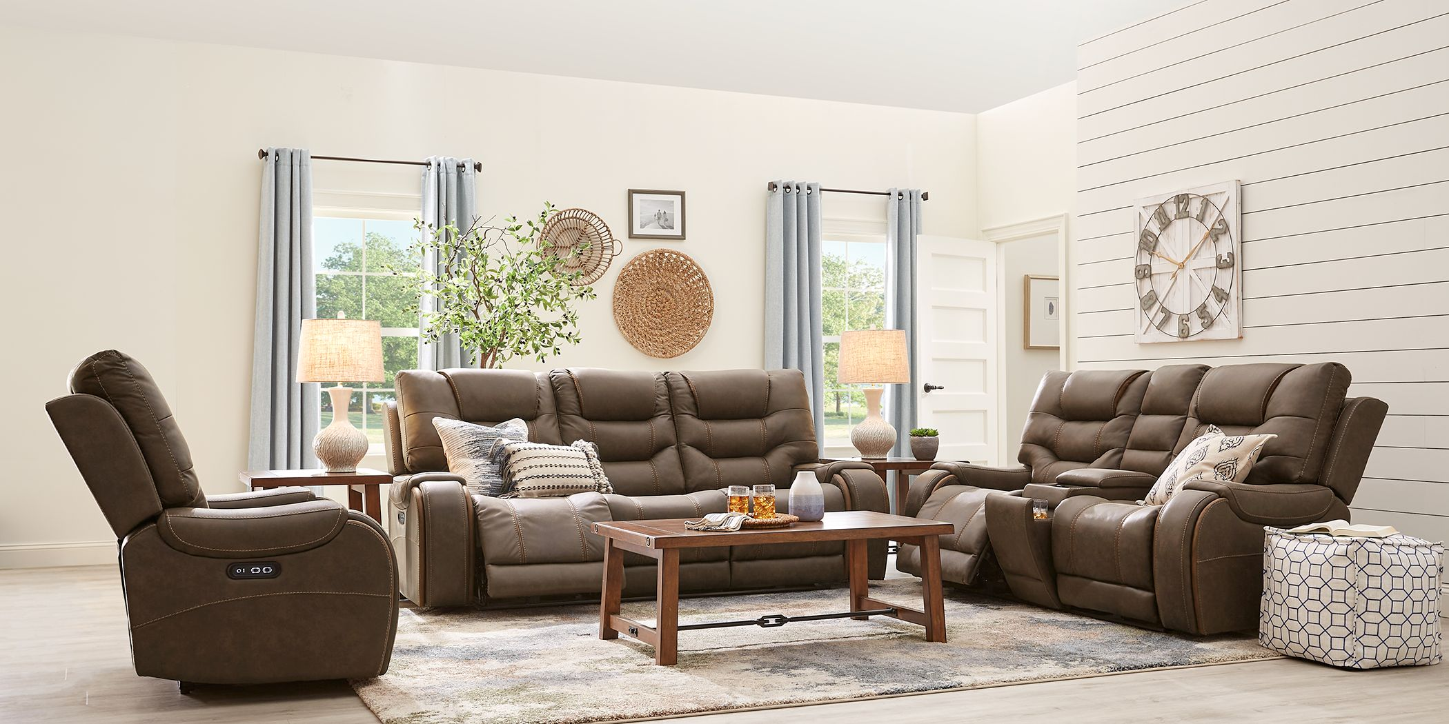River Landing Brown 2 Pc Dual Power Reclining Living Room