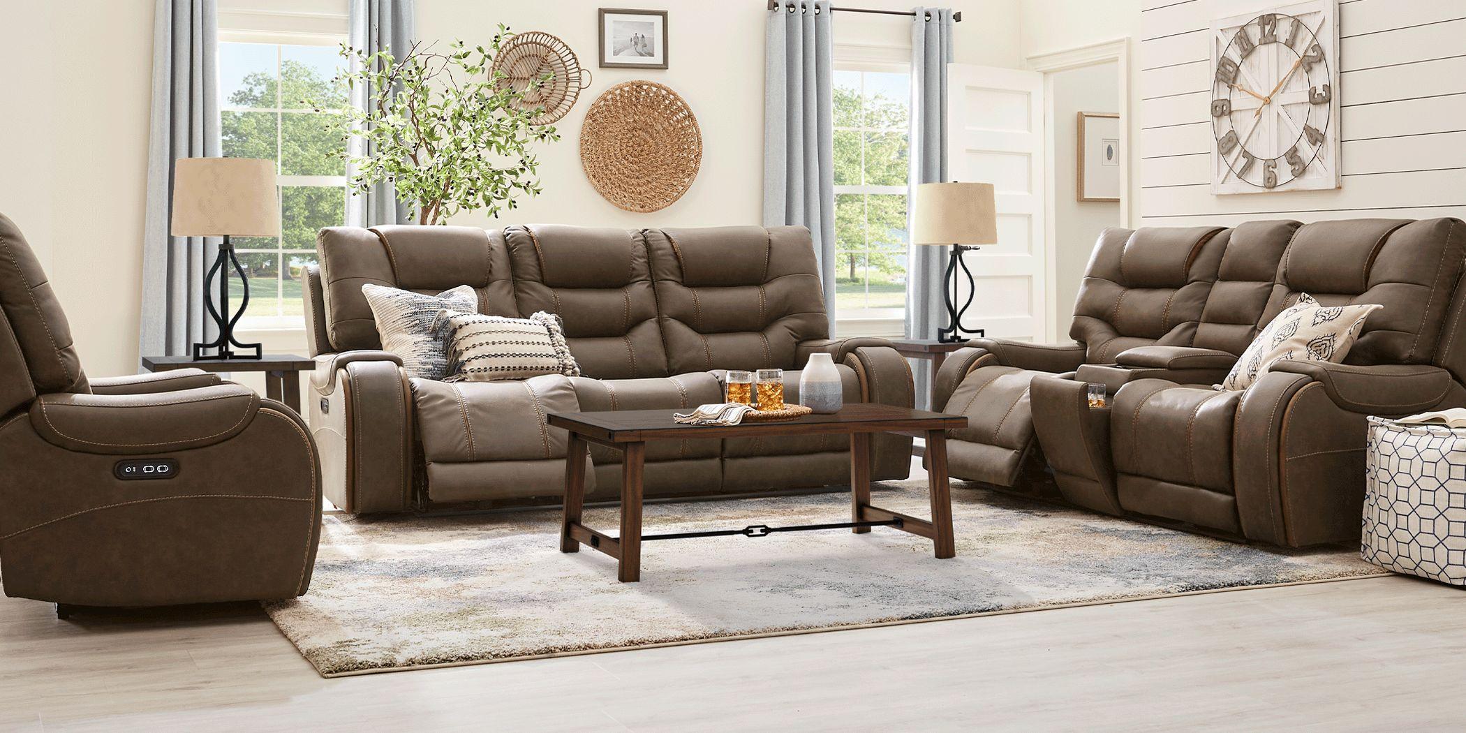 River Landing Brown 3 Pc Dual Power Reclining Living Room