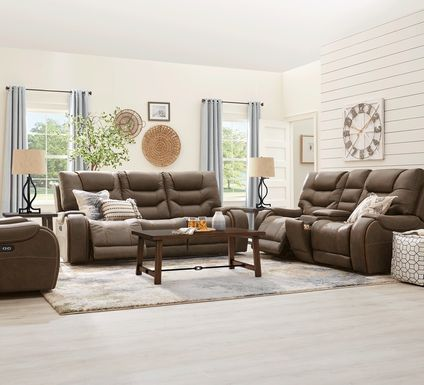 River Landing Brown 7 Pc Dual Power Reclining Living Room
