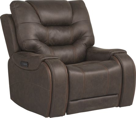 River Landing Brown Dual Power Recliner