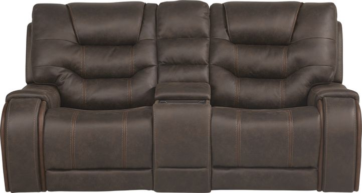 River Landing Brown Dual Power Reclining Console Loveseat