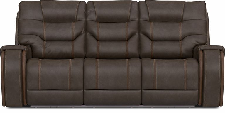 River Landing Brown Dual Power Reclining Sofa