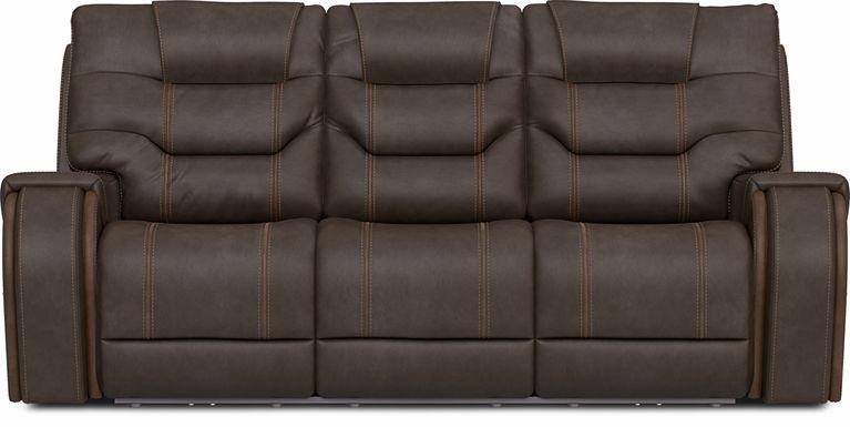 River Landing Brown Dual Power Reclining Sofa