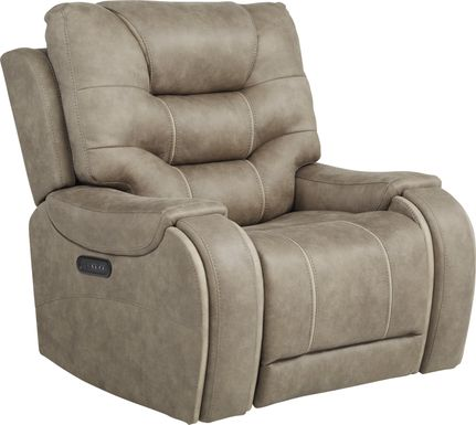River Landing Gray Dual Power Recliner