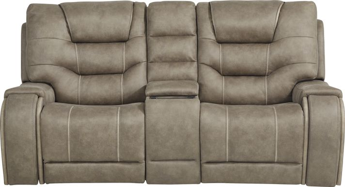 River Landing Gray Dual Power Reclining Console Loveseat