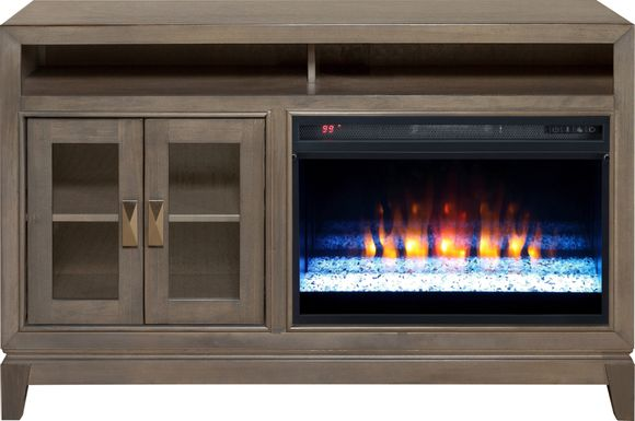 River Terrace Gray 52 in. Console with Electric Fireplace