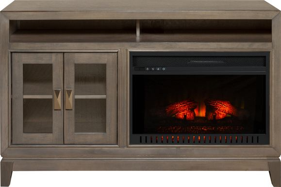 River Terrace Gray 52 in. Console with Electric Log Fireplace