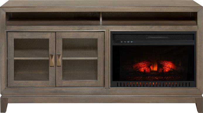 River Terrace Gray 62 in. Console with Electric Log Fireplace