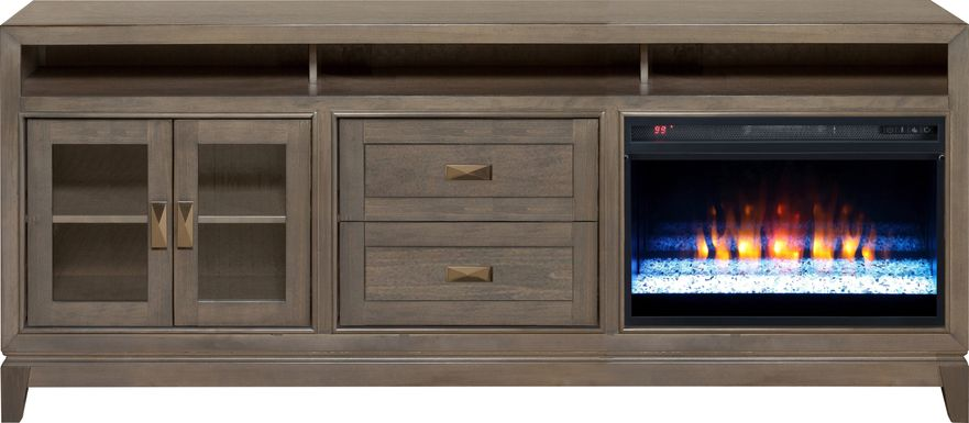 River Terrace Gray 82 in. Console with Electric Fireplace