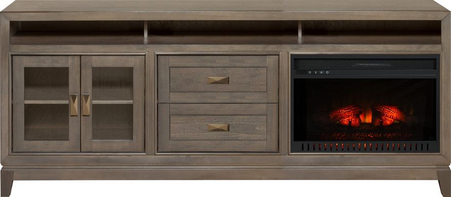 River Terrace Gray 82 in. Console with Electric Log Fireplace