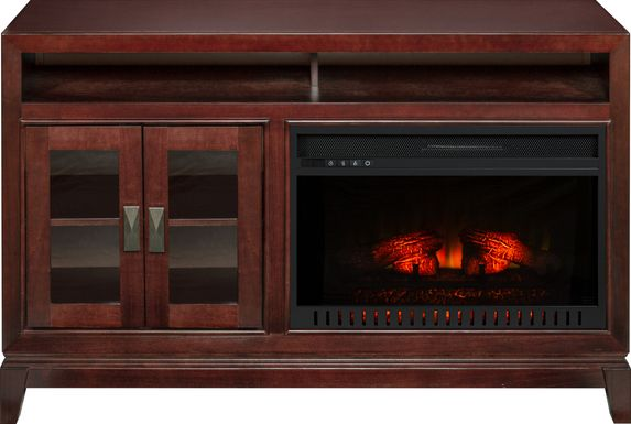 River Terrace Merlot 52 in. Console with Electric Log Fireplace