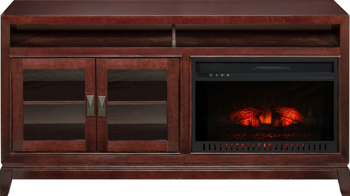 River Terrace Merlot 62 in. Console with Electric Log Fireplace