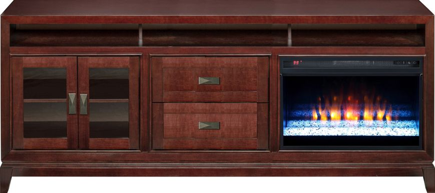 River Terrace Merlot 82 in. Console with Electric Fireplace
