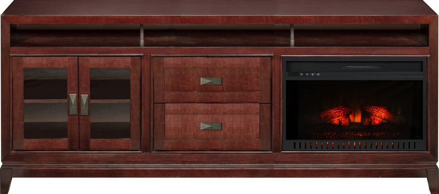 River Terrace Merlot 82 in. Console with Electric Log Fireplace