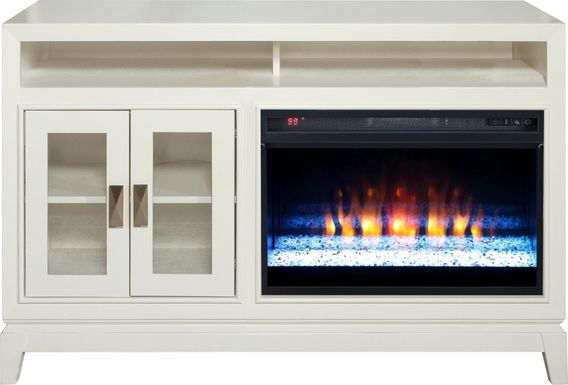 River Terrace Off-White 52 in. Console with Electric Fireplace