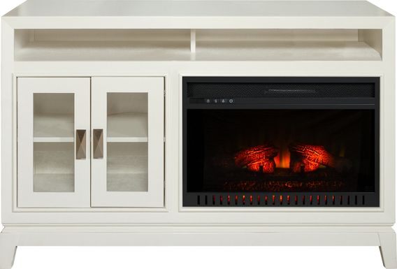 River Terrace Off-White 52 in. Console with Electric Log Fireplace