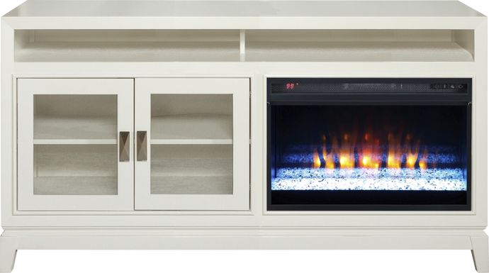 River Terrace Off-White 62 in. Console with Electric Fireplace
