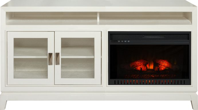 River Terrace Off-White 62 in. Console with Electric Log Fireplace