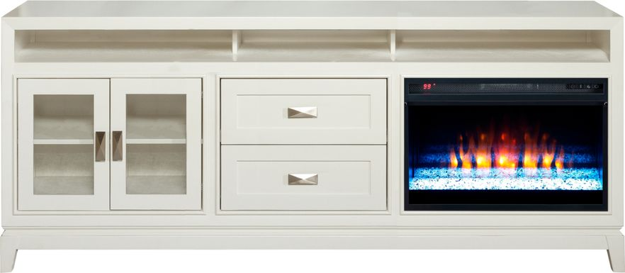 River Terrace Off-White 82 in. Console with Electric Fireplace