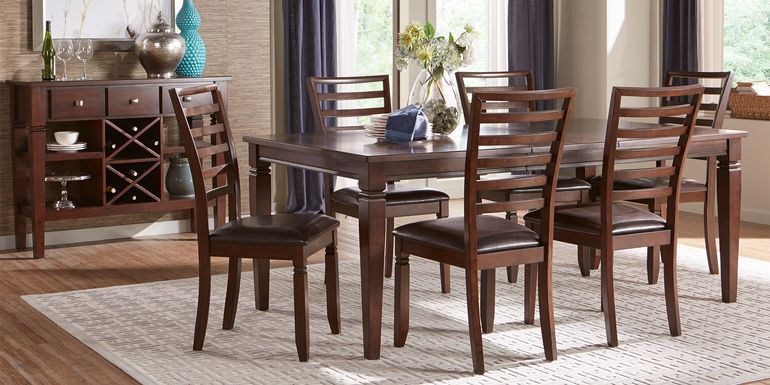 Riverdale Cherry 5 Pc Rectangle Dining Room with Ladder Back Chairs