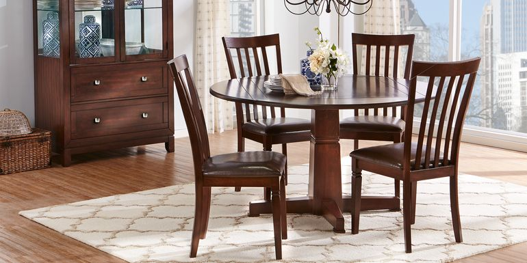 Riverdale Cherry 5 Pc Round Dining Room with Slat Back Chairs