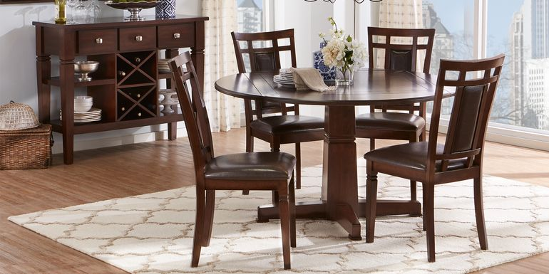 Riverdale Cherry 5 Pc Round Dining Room with Upholstered Back Chairs