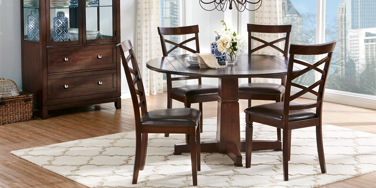 Riverdale Cherry 5 Pc Round Dining Room with X-Back Chairs