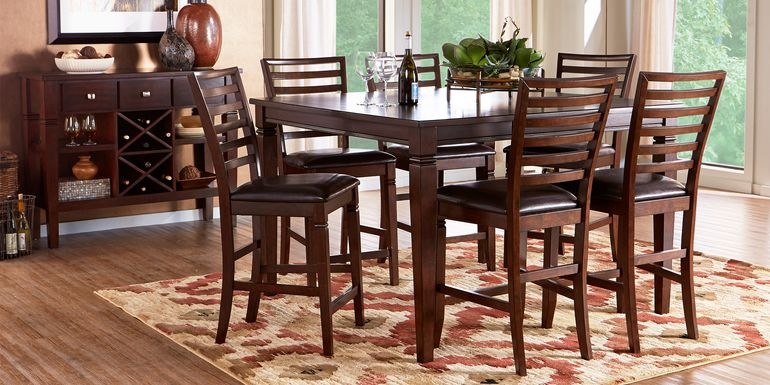 Riverdale Cherry 5 Pc Square Counter Height Dining Room with Ladder Back Stools