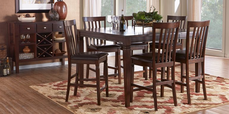 Riverdale Cherry 5 Pc Square Counter Height Dining Room with Slat Back Stools