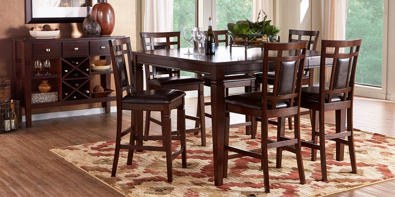 Riverdale Cherry 5 Pc Square Counter Height Dining Room with Upholstered Back Stools