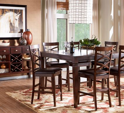 Riverdale Cherry 5 Pc Square Counter Height Dining Room with X-Back Stools