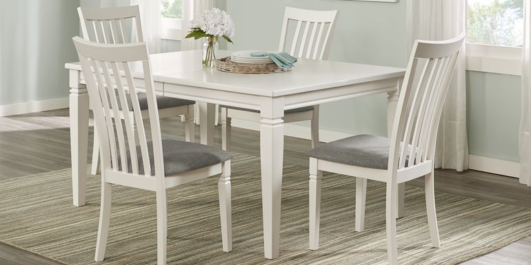 Riverdale White 5 Pc Rectangle Dining Room with Slat Back Chairs