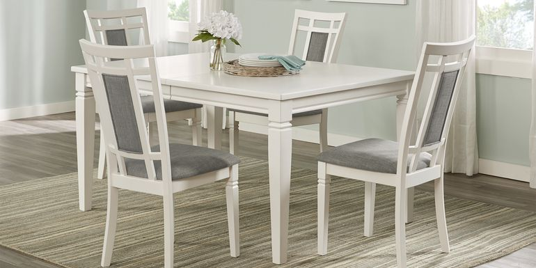 Riverdale White 5 Pc Rectangle Dining Room with Upholstered Back Chairs