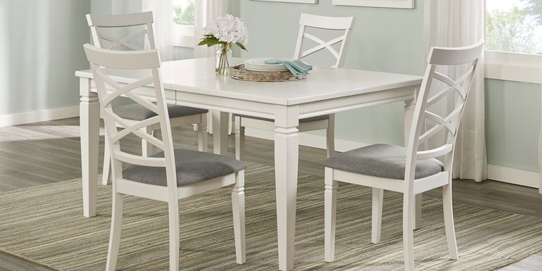 Riverdale White 5 Pc Rectangle Dining Room with X-Back Chairs