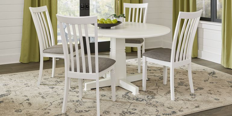 Riverdale White 5 Pc Round Dining Room with Slat Back Chairs