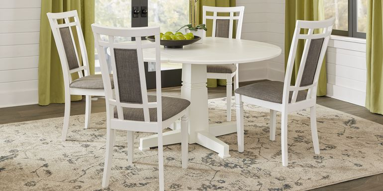 Riverdale White 5 Pc Round Dining Room with Upholstered Back Chairs