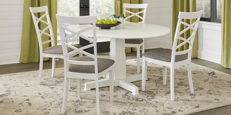 Riverdale White 5 Pc Round Dining Room with X-Back Chairs