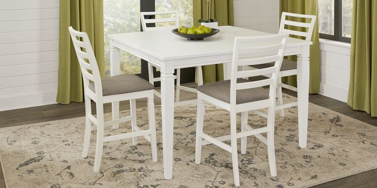 Riverdale White 5 Pc Square Counter Height Dining Room with Ladder Back Stools