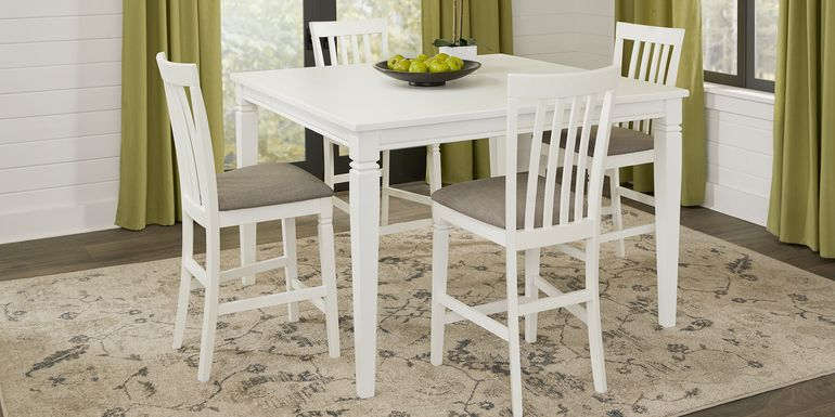 Riverdale White 5 Pc Square Counter Height Dining Room with Slat Back Stools