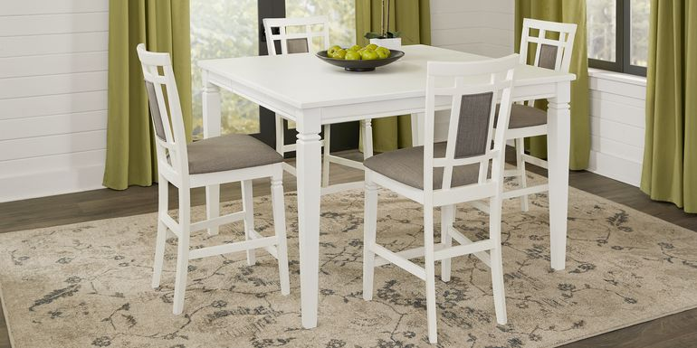 Riverdale White 5 Pc Square Counter Height Dining Room with Upholstered Back Stools