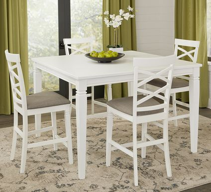 Riverdale White 5 Pc Square Counter Height Dining Room with X-Back Stools