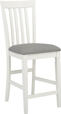 Riverdale White Slat Back Counter Height Stool