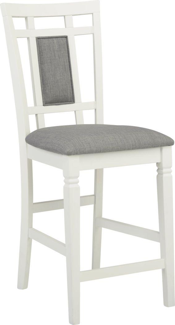 Riverdale White Upholstered Back Counter Height Stool