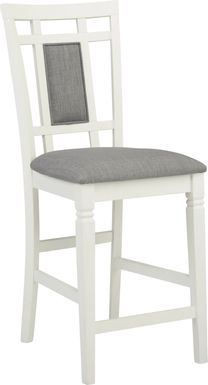 Riverdale White Upholstered Back Counter Height Stool
