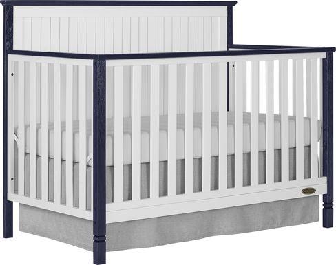 Rosamund White-Navy Convertible Crib