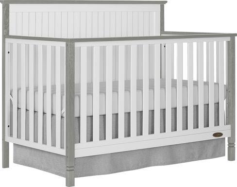 Rosamund White-Silver Convertible Crib